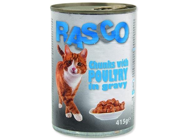 Konzerva RASCO Cat drůbeží kousky ve šťávě 415g