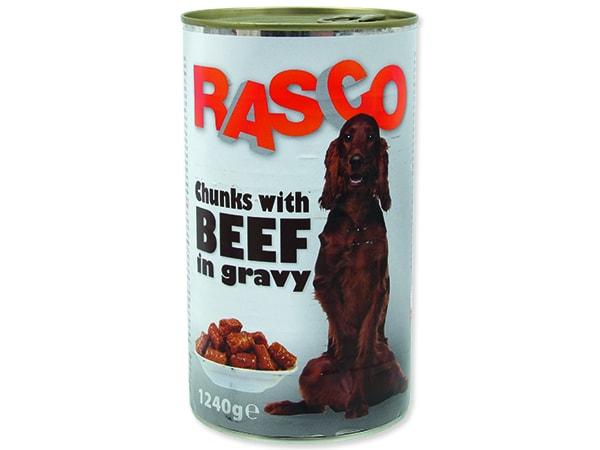 ÚTULEK: Konzerva RASCO Dog hovězí kousky ve šťávě 1240g