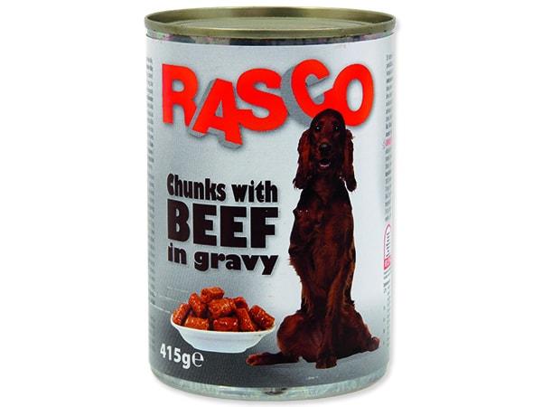 Konzerva RASCO Dog hovädzie kúsky v šťave 415g