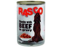 Konzerva RASCO Dog hovězí kousky ve šťávě 415g