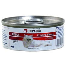 Konzerva ONTARIO Cat Chicken Pieces + Scallop 95g