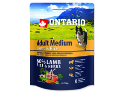 ONTARIO Dog Adult Medium Lamb & Rice 0,75kg