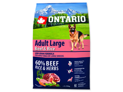 ONTARIO Dog Adult Large Beef & Rice 2,25kg