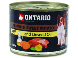 Konzerva ONTARIO Dog Mini Calf, Sweetpotato, Dandelion and Linseed oil 200g